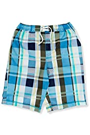 Contrast Drawstring Checked Swim Shorts