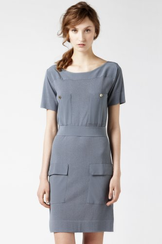 Roll Sleeve Mixed Media Oversize Pocket Dress