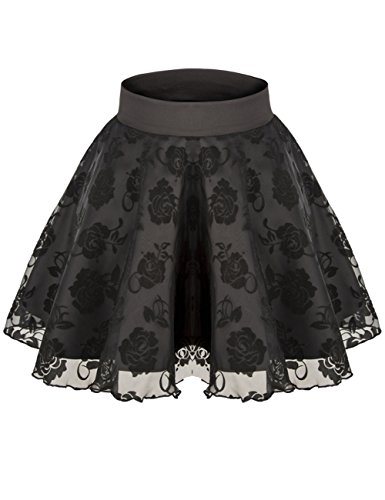 Sweetylove-Womens-Stretch-High-Waist-Pleated-Lace-Tulle-Tutu-Casual-Skirt