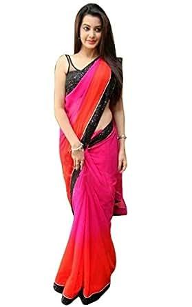 Mahi Fashion Women's Georgette Saree (Zeel--219_Multicolor)