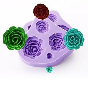 2ps molde de silicona con forma rosas para fondant tartas - Moldes silicona amazon ...