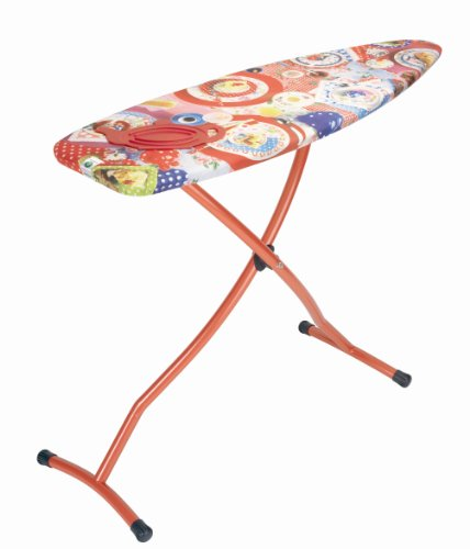 Brabantia Ironing Board with Silicone Heat Pad, Size D, 135 x 45cm, 35mm Red Frame, Lunch Cover