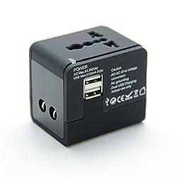 UNIVERSAL 2 USB TRAVEL ADAPTER-2100 mA ADAPTOR WORKS IN US UK EU AU ASIA