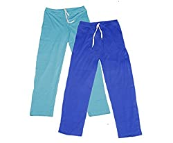 IndiWeaves Women Super Combo Pack 4 (Pack of 2 Lower/Track Pant and 2 T-Shirt)_Turquoise::Blue::Gray ::Black _L