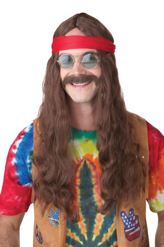 Hippie Man Long Wig with Moustache