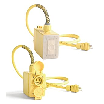 Woodhead 3301GFA143 Watertite FD Outlet Box, Dual Sided, Duplex Receptacle, NEMA 5-15 Configuration, 14/3 SOOW Cord Type, 1 Receptacles, 15A at 50/60Hz and 120V Voltage, 25ft Cord Length