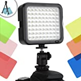 ENHANCE VidBRIGHT Dimmable Digital Camera Light Panel with 72 High-Power LED Lights , Hot Shoe Mount , Tripod Adapter & 6 Color Filters for Sony RX1R , RX100 II , Alpha SLT A77 , A65 , A57 & More!