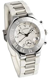 Cartier Men's W10184U2 Must 21 Stainless Steel and White Rubber Chronograph Watch