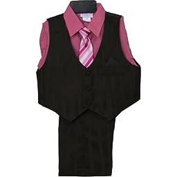 NancyAugust Toddler Boy Vest Set with Dress Shirt 2T-4T-Brown/Rose-4