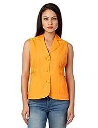 Oxolloxo Women Orange Sleeveless Blazer