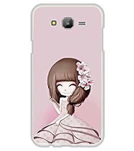 iFasho Cute Girl with Ribbon in Hair Back Case Cover for Samsung J5