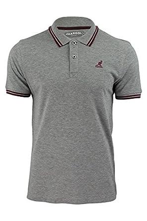 """Kangol - Polo T-Shirt Homme Surpiqué Coton """"Joshua"""" Col Double Pointe Manche Courte Neuf - Small, Gris de Marl/rouge"""