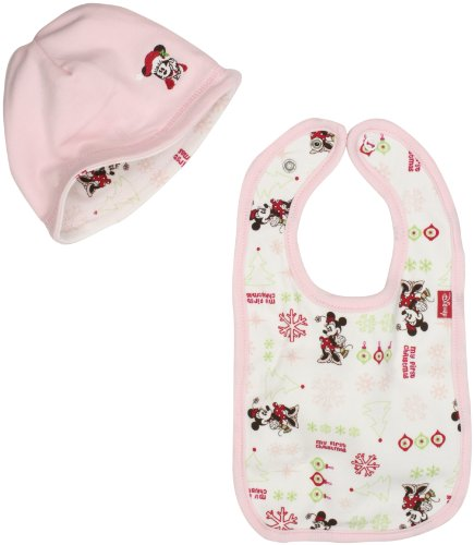 Disney Baby-Girls Newborn Minnie Mouse My First Christmas Reversible Cap And Bib