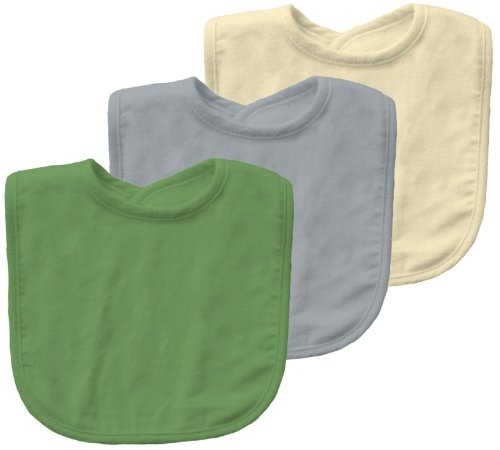 Green Sprouts By I Play. Waterproof Bib - Organic Terry - Green /Grey/Yellow - 3 Ct front-323962