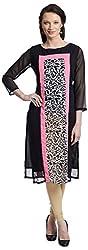 Chandigarh Fashion Mall Women's Georgette Regular Fit Kurta (Cfm.1052_XXL, Black, XXL)
