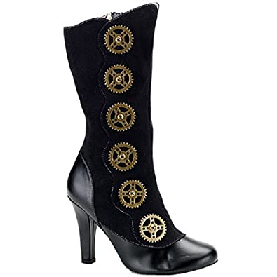 Women's 4 Inch Heel Steampunk Calf Boot With Steam Gear Buttons And Inner Zipper (Black Pu;11)