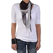 Journee Collection Womens Polka-dot Lacy Detail Scarf