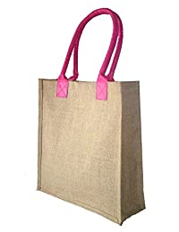 Foonty Pink Handle Jute Bag