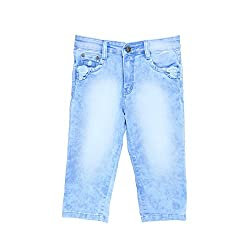 BAT Light Blue Solid Shorts For Girls