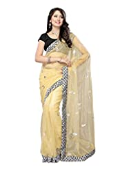 Light Yellow Bright Net Saree With Matching Blouse
