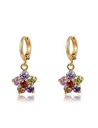 Waah Waah Premium Fashion Jewellery 24k Gold Plated Blue Red Pink Purple Orange Zirconia Earrings For Women (8...