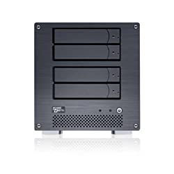 Sans Digital MN4LA+B4G Black 4 Bay NAS + iSCSI 4 Bay Network Storage Server Tower with ntel ATOM D510 CPU & 4G DDR II memory
