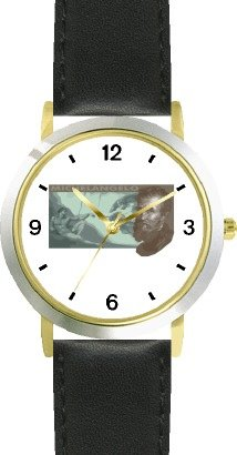Watchbuddy Michelangelo With Sistine Chapel Fresco - Watchbuddy Deluxe Two-tone Theme Watch - Arabic Numbers - Black Leather Strap-size-large Men's Si