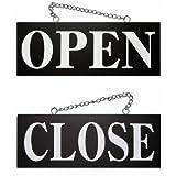 手書き風筆文字 木製サイン看板 「OPEN/CLOSE」 明朝体 両面(W15cm×H40cm/黒地)