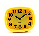 Fashion Oval 3D Modern Solid Color Alarm Clock 4 inch (yellow)