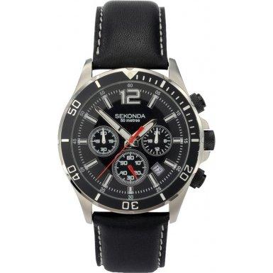 Sekonda 3274.27 Mens Black Dial Black Leather Strap Watch
