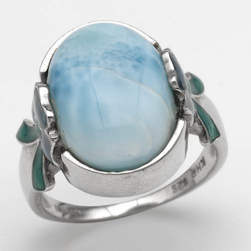 Cocktail Ring With Genuine Larimar in Two tone Enamel and 925 Sterling silver. Total item weight 6.5g (Size 7)