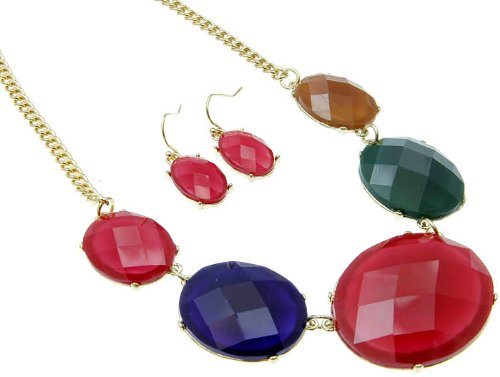 NECKLACE AND EARRING SET METAL LUCITE BEAD MULTI Fashion Jewelry Costume Jewelry fashion accessory Beautiful Charms