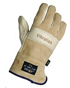 Decade 49405 Leather Anti-Vibration Full-Finger Left Hand Premium Glove with Safety Cuff and Gfom, Buff, XX-Large