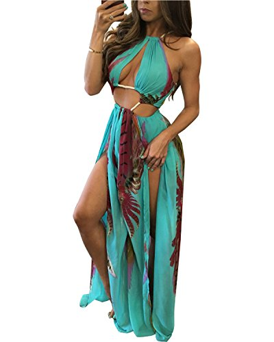 BIUBIU Women's Boho Chiffon Halter Summer Beach Party Cover Up Dress Blue S