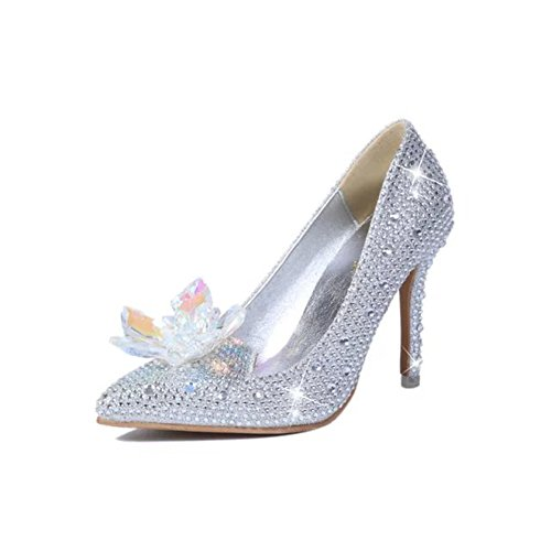 Friday Women's Cinderella Rhinestone Wedding Heels Bridal Pumps