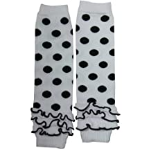 Cutie Black Polka Dots Black Trim Ruffle White Kid Leg Warmer - Dot Ruffle White
