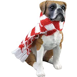 #!Cheap Sandicast Fawn Boxer with Red and White Scarf Christmas Ornament