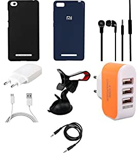 NIROSHA Cover Case Charger Headphone Mobile Holder for Xiaomi Mi 4i - Combo