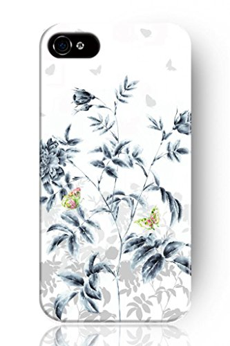 Sprawl New Retro Vintage Colorful Butterfly On Grey Leaf Personalized Hard Plastic Snap On Slim Fit Iphone 4 4S 4G Case Flower Design