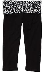 Black Yoga Capri Pant with Fold-Over Waist, Adult Sizes