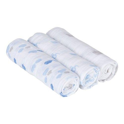 Lässig 3er Set Swaddle & Burp Blanket Puckdecke/Spuckdecke 100% Baumwolle Mulltuch weich kuschelig 85 x 85 cm, Elephant und Clouds boys
