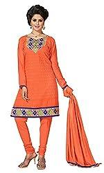 Parisha s Orange Embroidered Chanderi Straight Suits Dress Material(Orange)