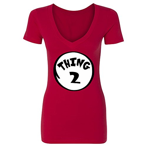 [Thing 2 Women's Deep V-Neck Funny Halloween Costume Xmas Humor 1 2 Dad Mom Shirt Red Large] (Thing 1 Thing 2 Halloween Costumes)