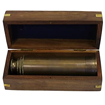 "15"" Handheld Pirate Telescope with Wooden Box - Nautical Antique Finish"