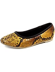 Beanz Miranda Yellow/Snake Print/Black Man Made Leather Ballerina For Girls Size 26 EU