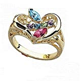14K Gold Mothers Heart Shaped Family Birthstone Ring Marquise Design