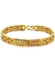 bigsoho Fashion 18k Gold Plated Sparkle Wristband Golden Metal Plate