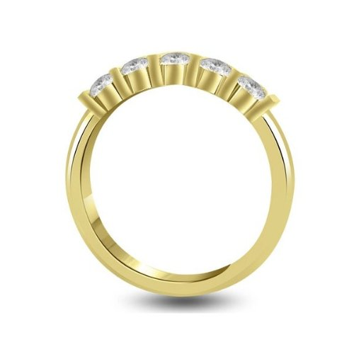 0.60 carat Diamond Half Eternity Ring for Women. F/VS1 Round Brilliant Diamonds in Bar Setting in 18ct Yellow Gold