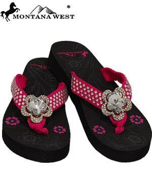 Pink Rhinestone Flip Flops front-909553