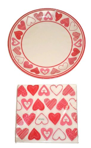 Learn More About Heart Design Paper Plates and Napkins Set for 18